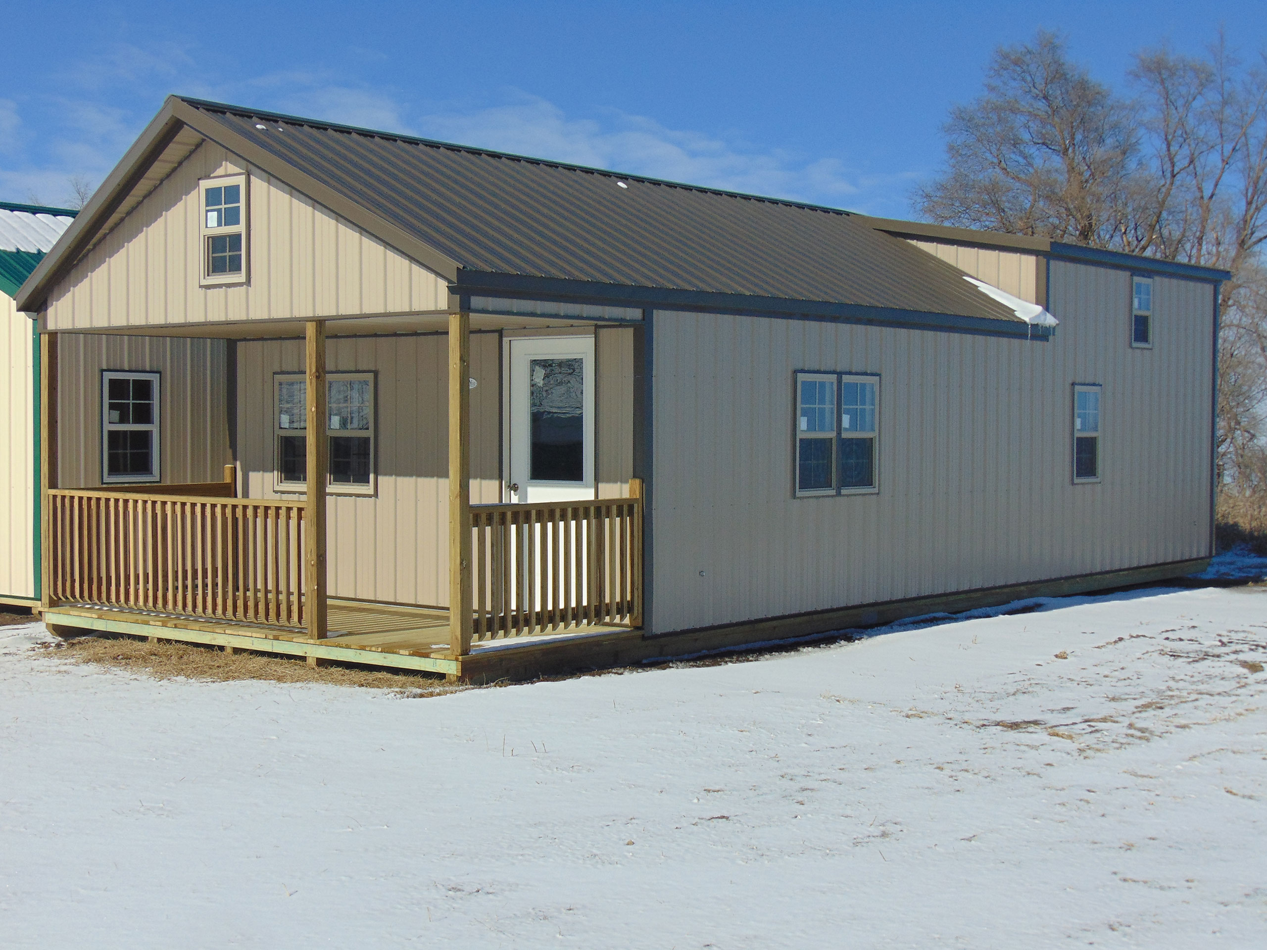 Carter cabins midwest storage barns for Metal building cabin